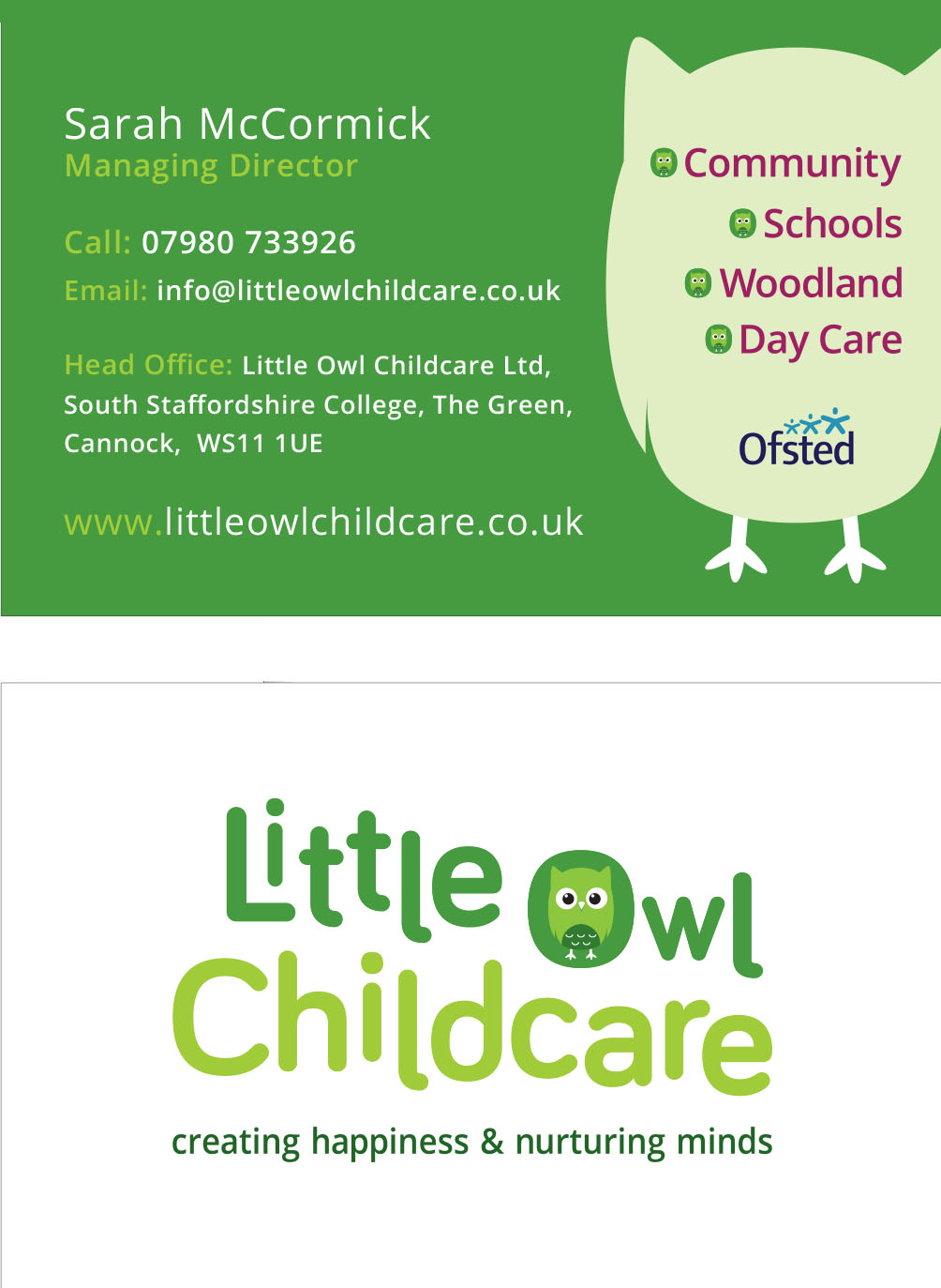 The Marketing People Little Owl Childcare business card